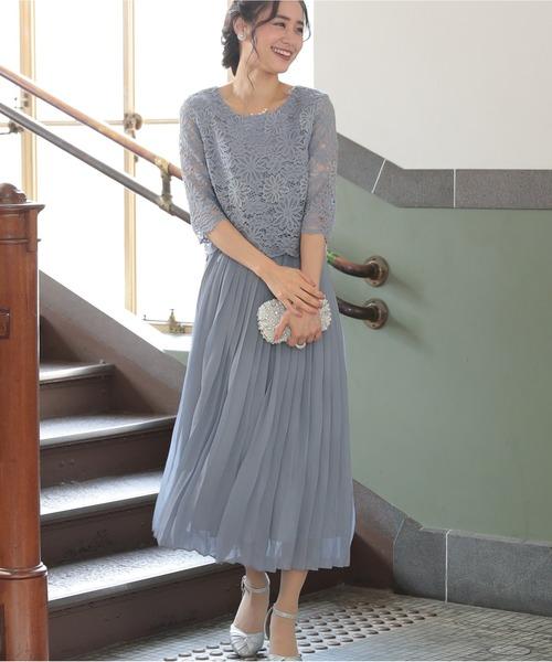 [PREFERIR] レース プリーツスカート パーティー ドレス【結婚式】