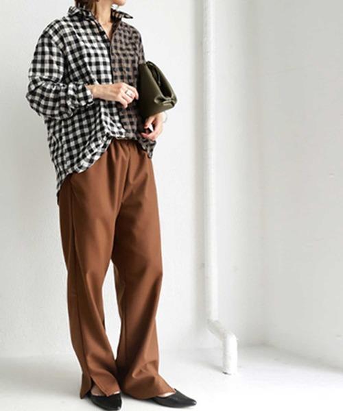 [antiqua] ギンガムチェックシャツ