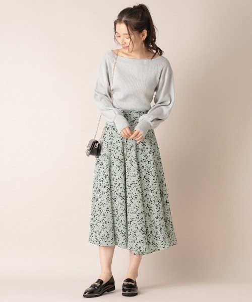 6[mysty woman] レースアップ小花フレアスカート 868205