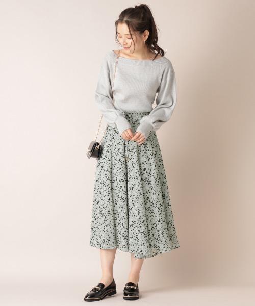 [mysty woman] レースアップ小花フレアスカート 868205