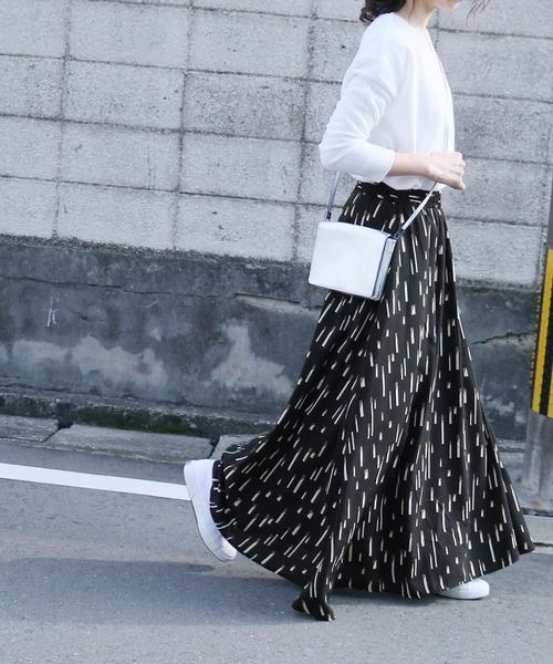 [reca] ツイリースカーフ付きフレアスカート