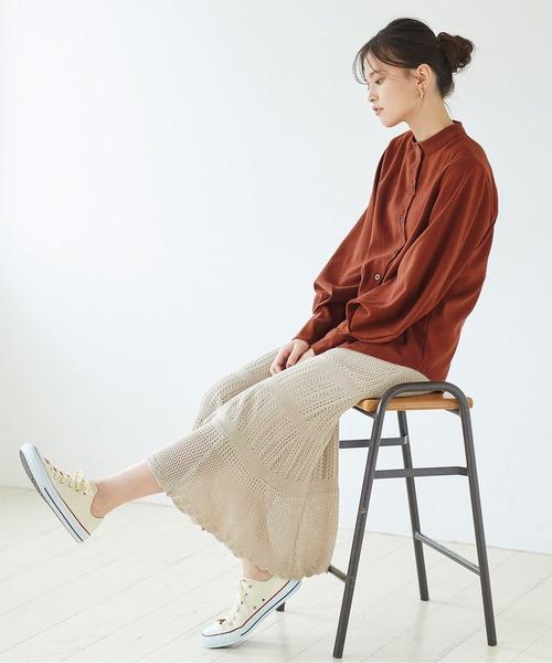 [titivate] ボリュームスリーブスタンドカラーシャツ
