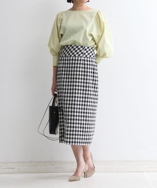 [martinique] martinique/フロントスリットギンガムタイトスカート