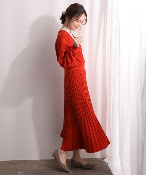 [ViS] 【セットアップ対応】プリーツ編みニットスカート