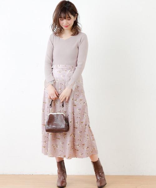 [natural couture] 前後2WAY袖レースリブニット
