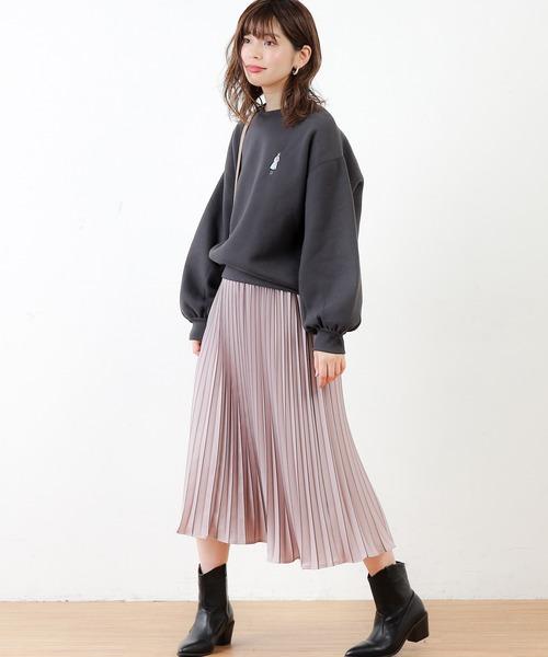 [natural couture] 女の子・犬・猫刺繍裏起毛裏毛プルオーバー