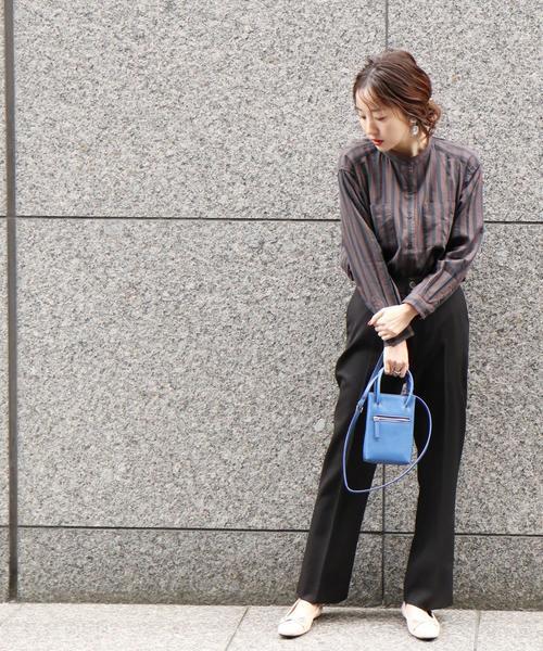 [coen] 【WEB限定色:ブラック/ブラウン】スリットフレアパンツ