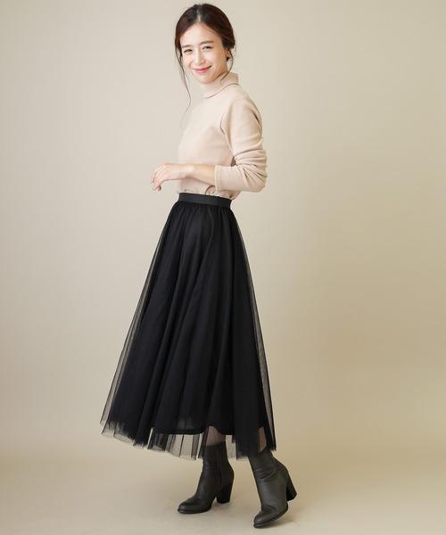 [MERVEILLE H.] <新色追加:春カラー>マキシ チュールスカート