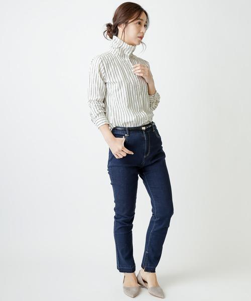 [MERVEILLE H.] シルケットドビー ストライプ スタンド カラー シャツ