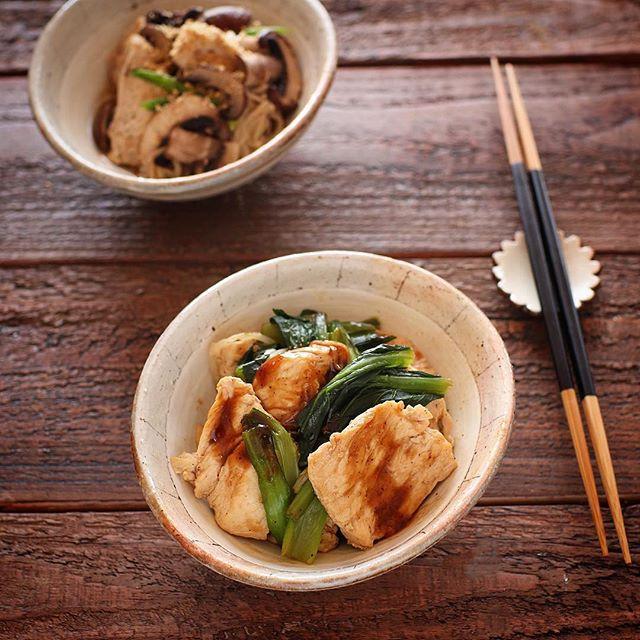 付け合わせに!サバの味噌煮とオイスターチキン
