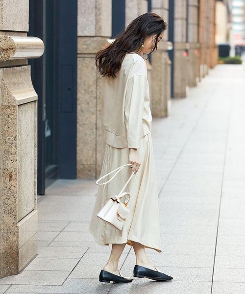 [ROPE'] 【セットアップ対応】ニットカットコンビアシメスカート