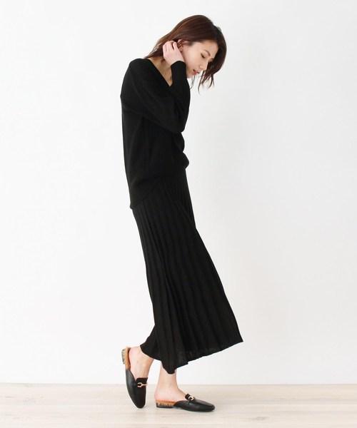 [SHOO・LA・RUE] 【M-L/2点セット】畦編みニット+スカート ニットアップ