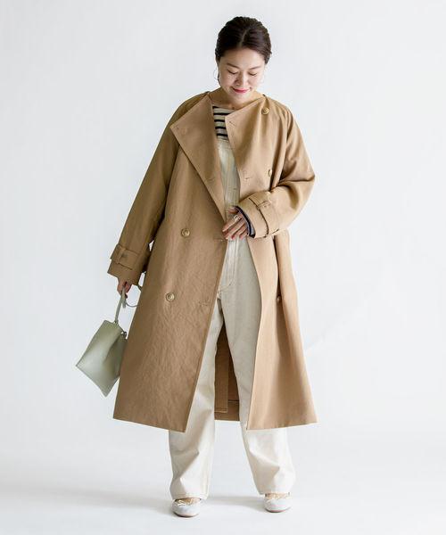 [SHIPS for women] ウォッシャブルノーカラートレンチ◆