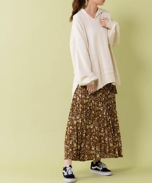 [Discoat] 【ZOZO限定/2020春物新作】花柄プリーツスカート/ロングスカート/フレアスカート/マキシスカート