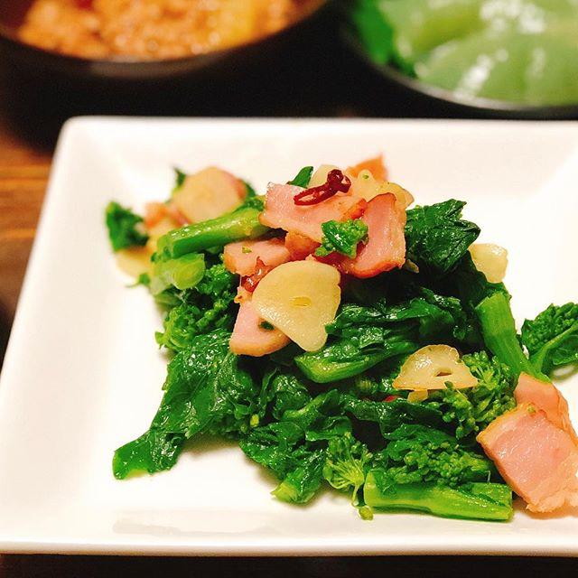 餃子に!菜の花とベーコンのアーリオオーリオ