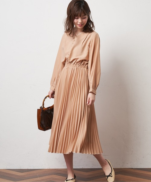 [natural couture] 配色おしゃれプリーツワンピース