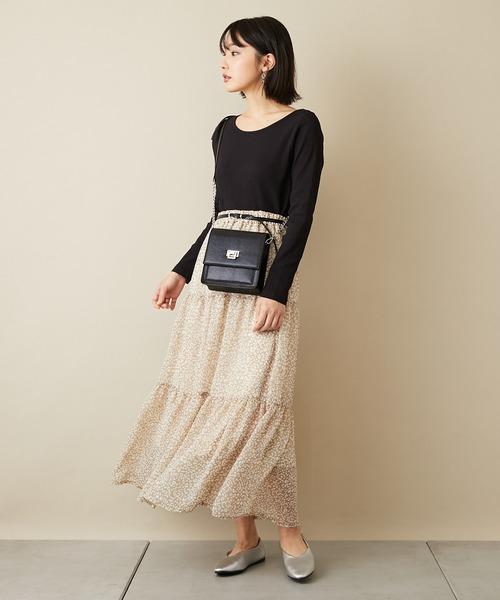[COLONY 2139] レオパード柄シフォンティアードスカート