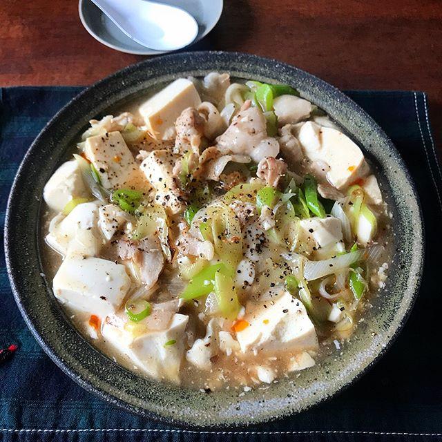 簡単おかず!豚バラとネギの低カロリーな塩麻婆豆腐