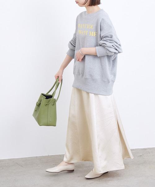 [ADAM ET ROPE'] サテンセミフレアスカート