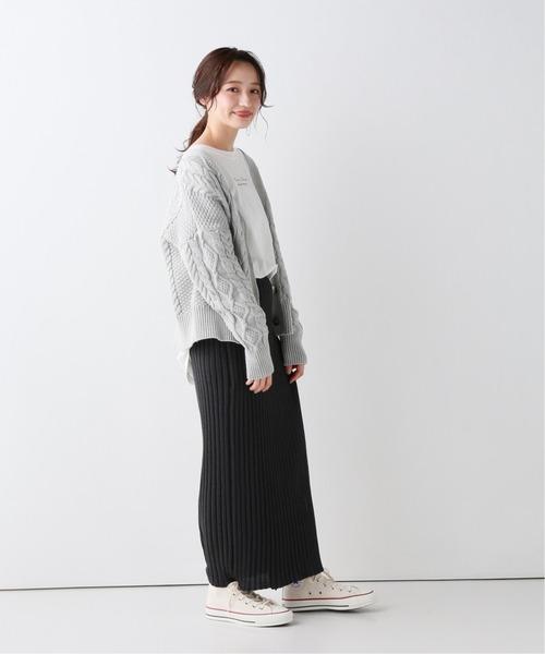 [IENA] ラップ風リブニットスカート