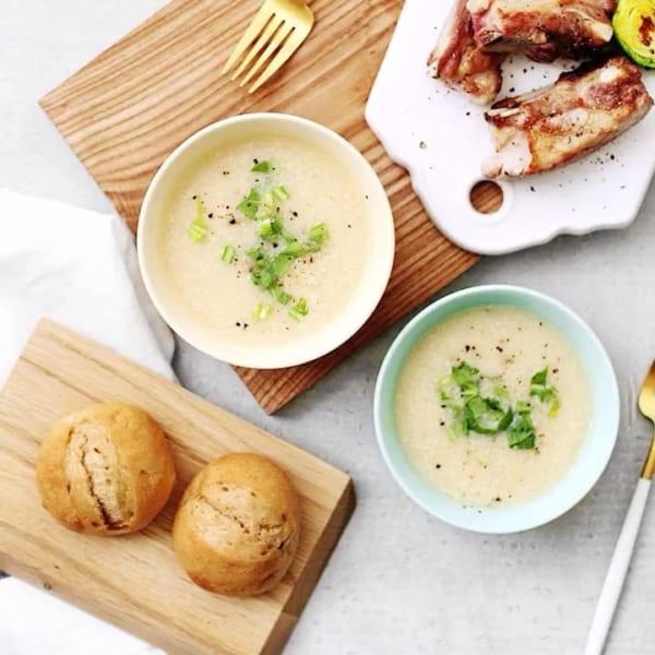 付け合わせに!カツ丼と酒粕とカブの豆乳スープ
