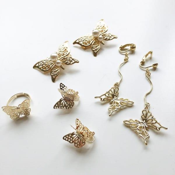 蝶モチーフヘアクリップ