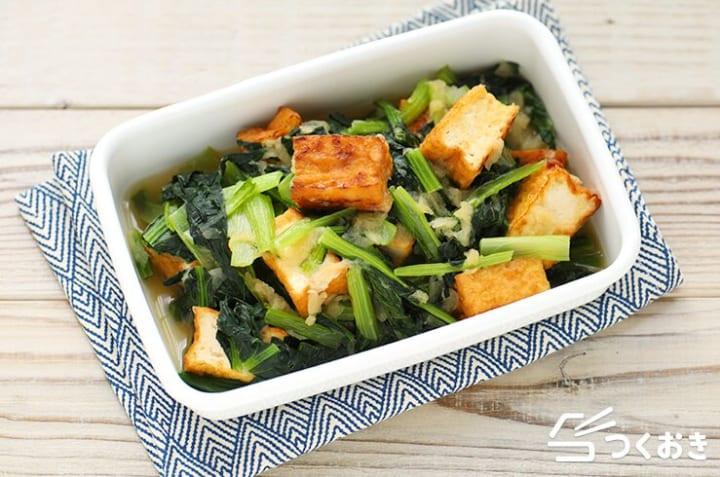 お好み焼きの副菜に!小松菜と厚揚げのみぞれ煮