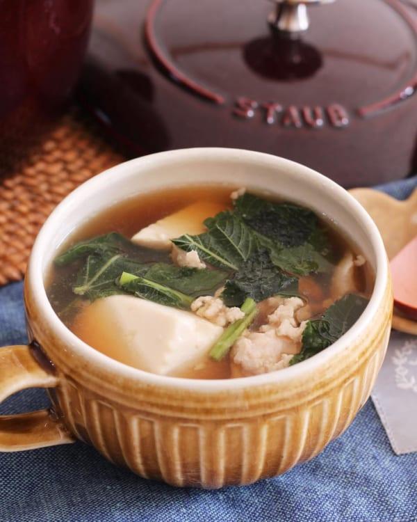 豆腐とモロヘイヤのスープ