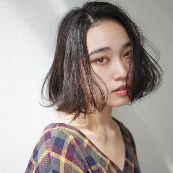 40代×前髪なしボブ×外国人風カラー