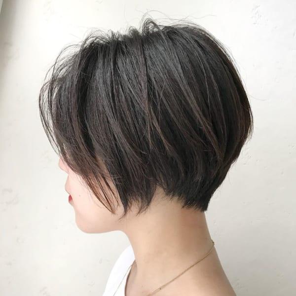 40代×前髪なしショートボブ×グレージュ