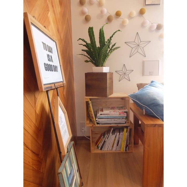 IKEAの木箱に本を収納