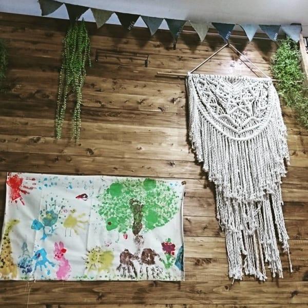 布作品×マクラメ編みが新鮮