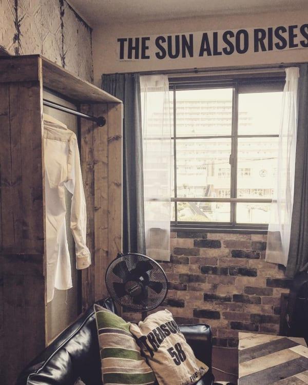 ブルックリン風の衣類収納