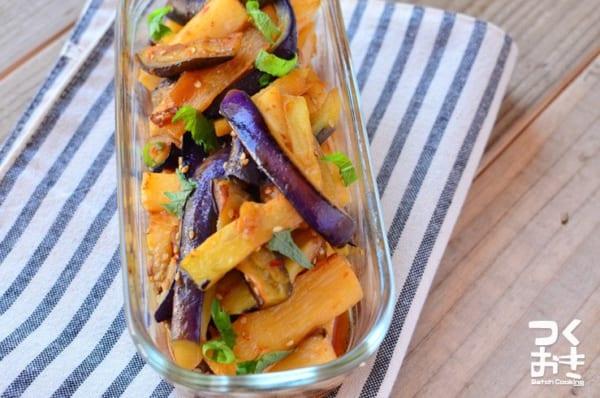 サラダ感覚の副菜!長芋となすのピリ辛揚げ浸し