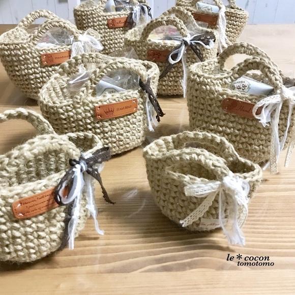 ミニバッグを編んでラッピング