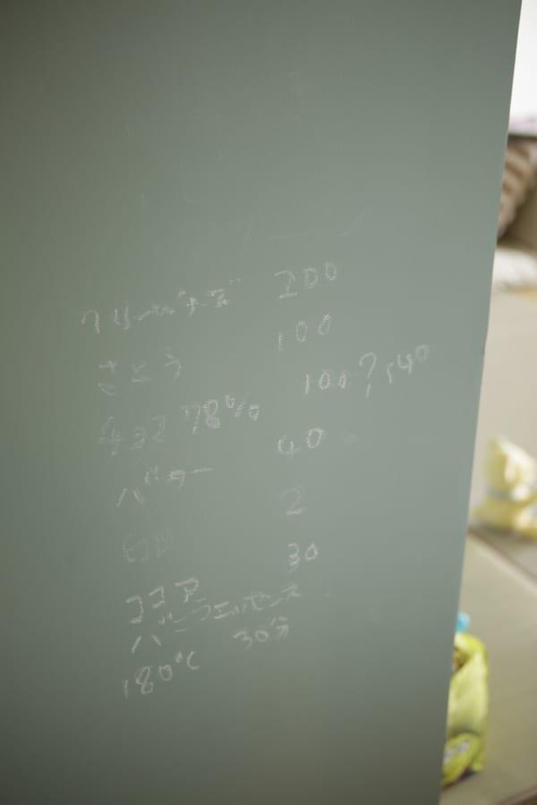 ブルーグレーの黒板塗料の壁が、ゲストのメッセージボードに。5