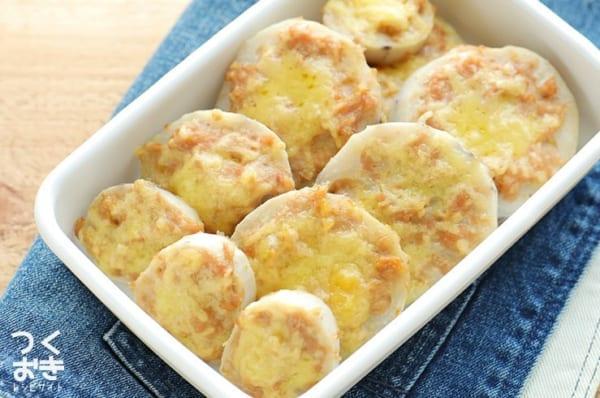 美味しい食べ方!れんこんの簡単肉詰めチーズ焼き