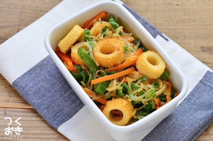 副菜のレシピに!しらたきとちくわの炒め物