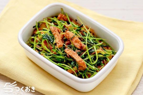カレーに人気の副菜!豆苗と油揚げの炒め物