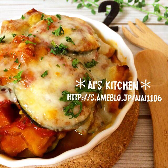 八宝菜の副菜に!ズッキーニのトマトチーズ焼き