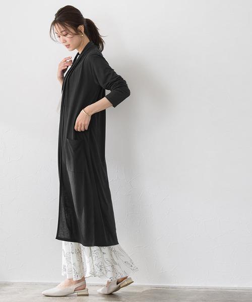 黒ロングカーディガン×ロングスカートの夏コーデ