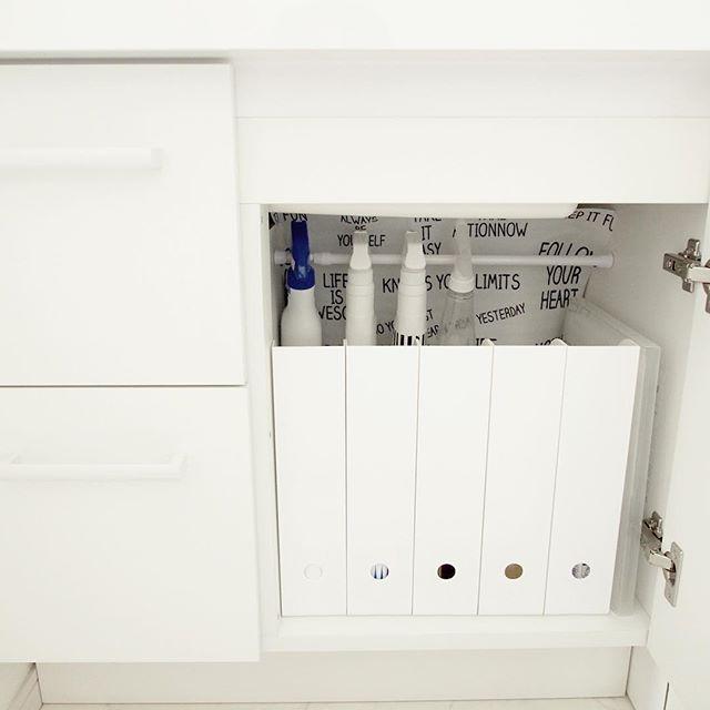 突っ張り棒を使った洗面所の収納DIYアイデア2
