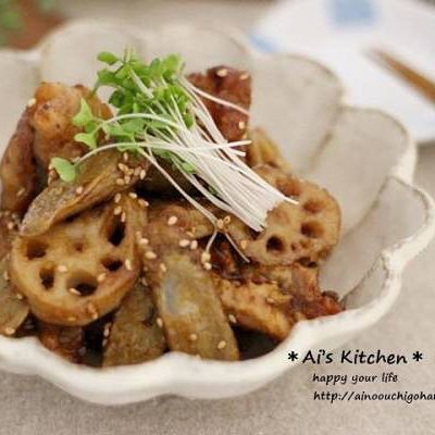 簡単な食べ方!鶏唐と根菜の南蛮酢炒め