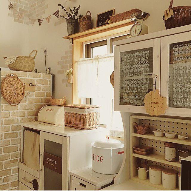 キッチンの目隠しカーテンにするアイデア