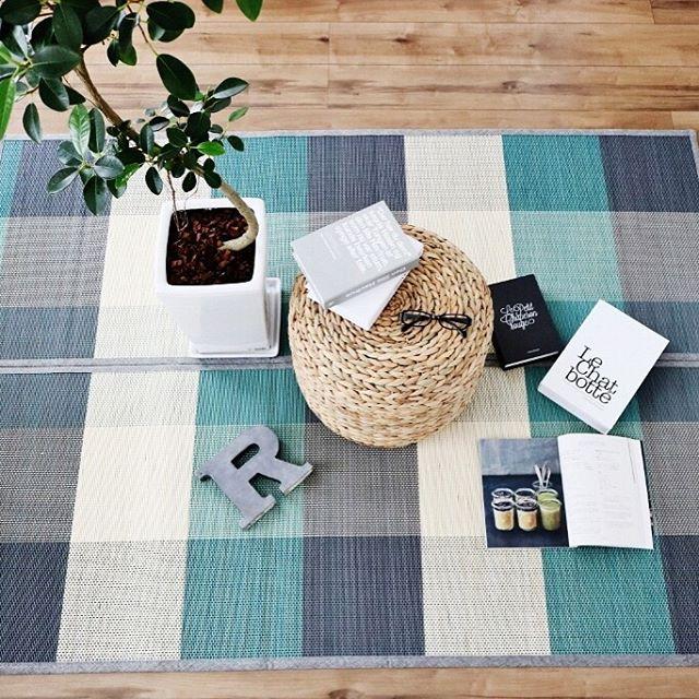 自然素材椅子やブルー系ラグで夏らしさを演出