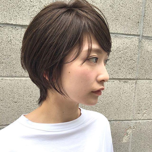 丸顔さんに似合う前髪あり×ショート×ストレート2