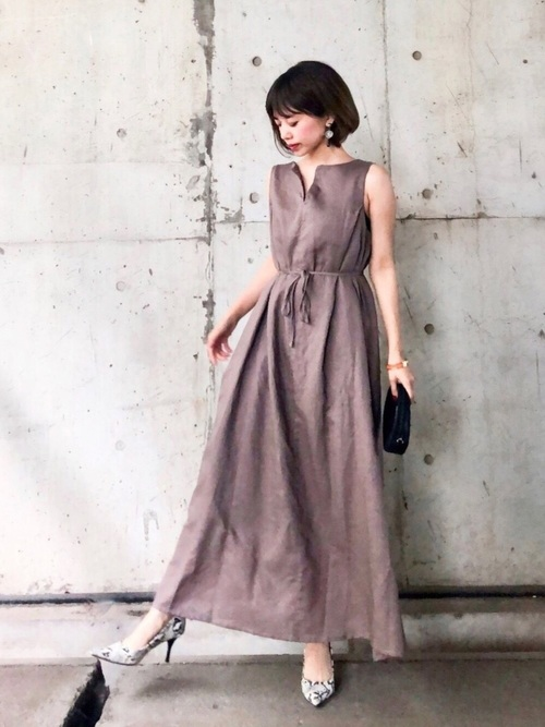 [INTER FACTORY] ファッションインフルエンサー eriko × INTER FACTORY リネンノースリーブワンピース