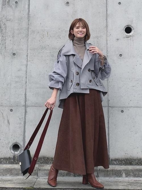 [Auntie Rosa] 【LA BELLE ETUDE】【Belle vintage】ボリューム袖ショートトレンチコート