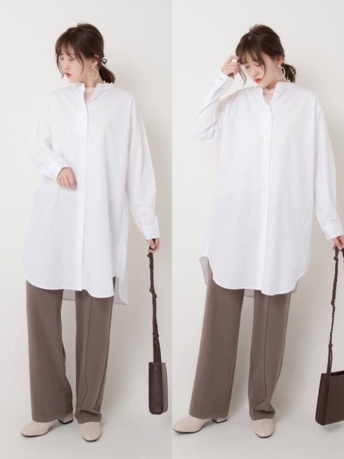 ユニクロの白系シャツ&ブラウスコーデ2