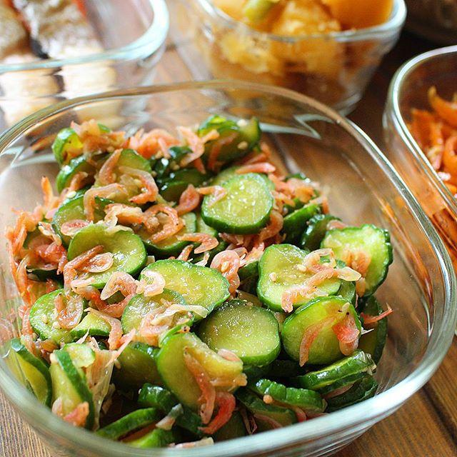 冷しゃぶの副菜に!きゅうりと小エビの香り炒め